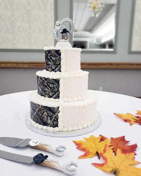 Two Colored Camo Wedding Cakes