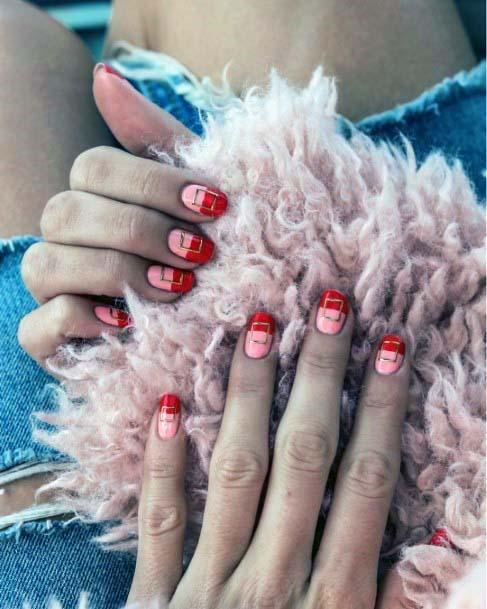 Two Colored Red And Pink Nails For Women