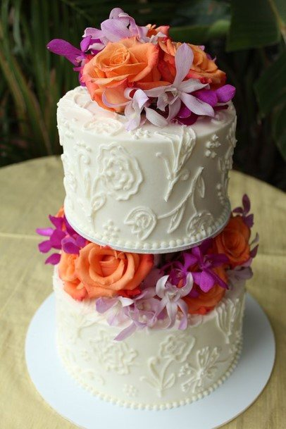 Two Levelled Buttercream Wedding Cake With Roses