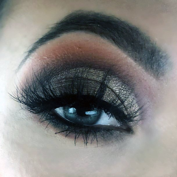 Two Lined Brown And Gold Eyeshadow