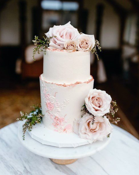 Two Tiered Wedding Cake Blush Flowers Cream