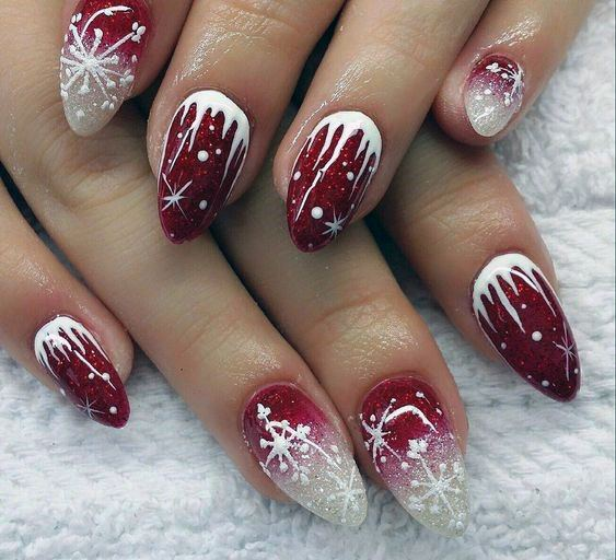 Two Toned Berry And White Snow Nails Women