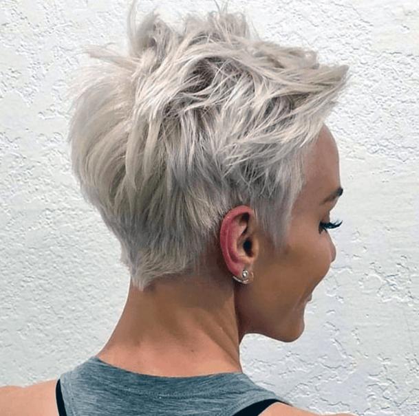 Uneven Choppy White Pixie Hairstyle Women