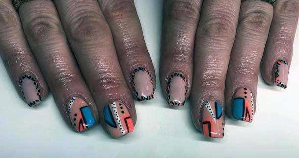 Unique Art Orange And Blue Nails For Women