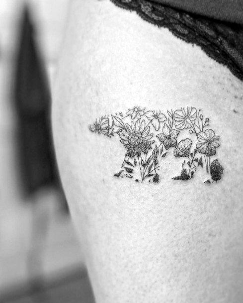 Unique Bear Tattoo For Women