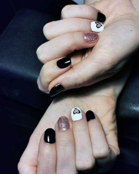 Unique Black And Lighter Pink Nails Women