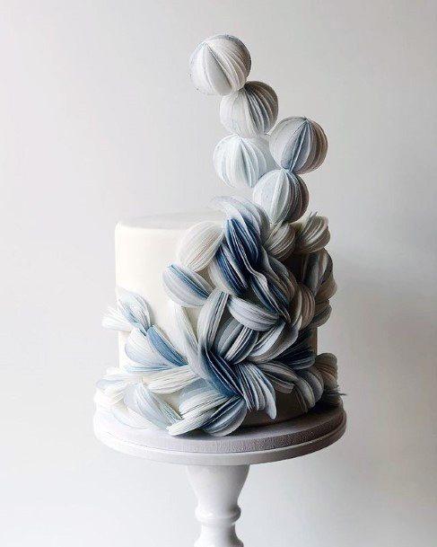 Unique Blue And White Modern Art Wedding Cake