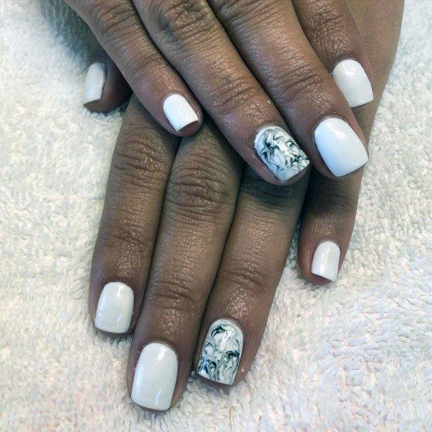 Unique Design Accent White Gel Nails Women