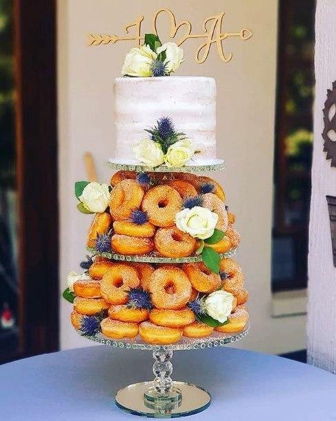 Unique Donut And White Wedding Cake