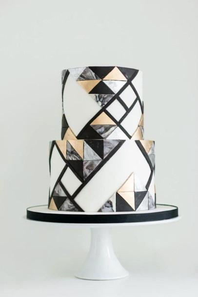 Unique Geometric Design Wedding Cake Ideas