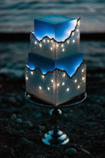 Unique Lighted Wedding Cake