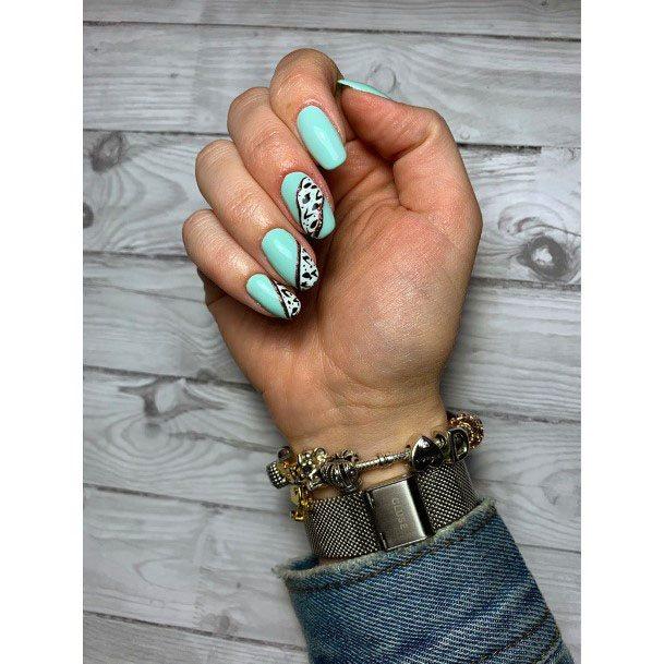 Unique Pattern On Mint Nails Women