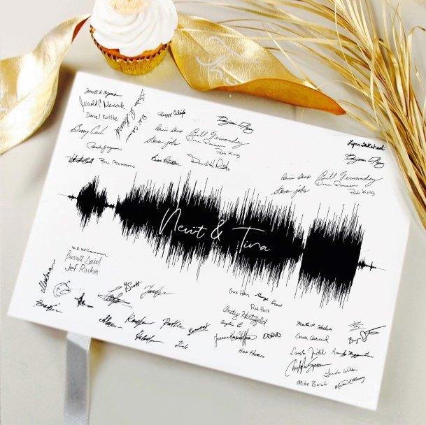Unique Soundwave Wedding Guest Book Ideas