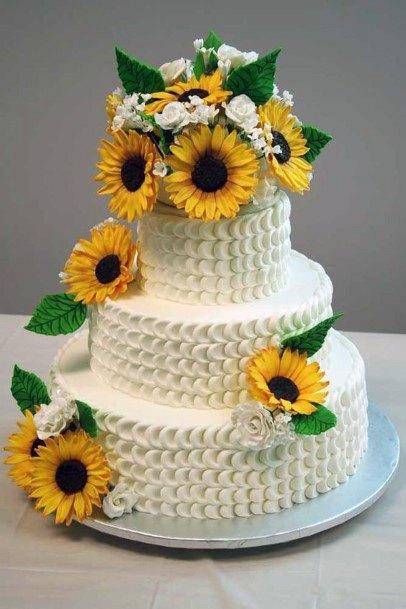 Unique Textured White Wedding Cake Women Sunflowers Art