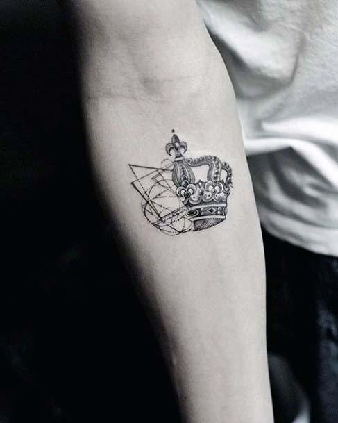 Unique Two Sided Crown Tattoo Womens Arms