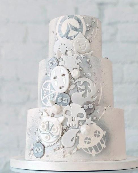 Unique White Embellishment Wedding Cake