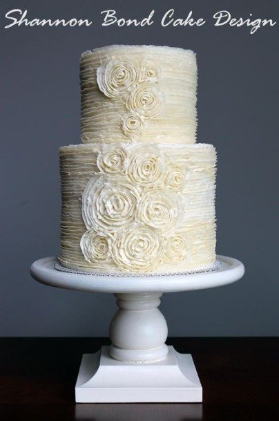 Upmarket White Buttercream Wedding Cake