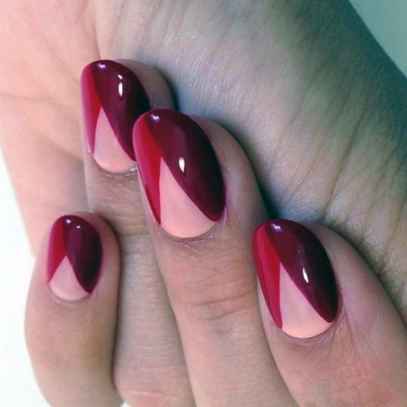V Shaped Bright Red Nail Art For Women