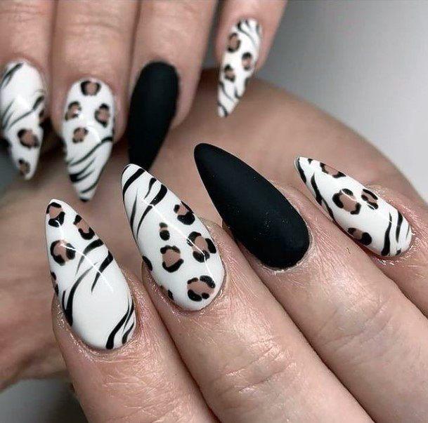 Velvet Black Nails And White Leopard Women