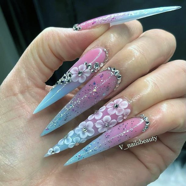 Very Long Sharp Nails 3d Flowers