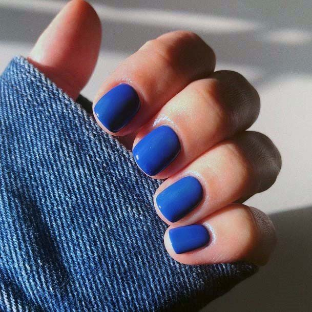 Very Short Bright Blue Nails For Women