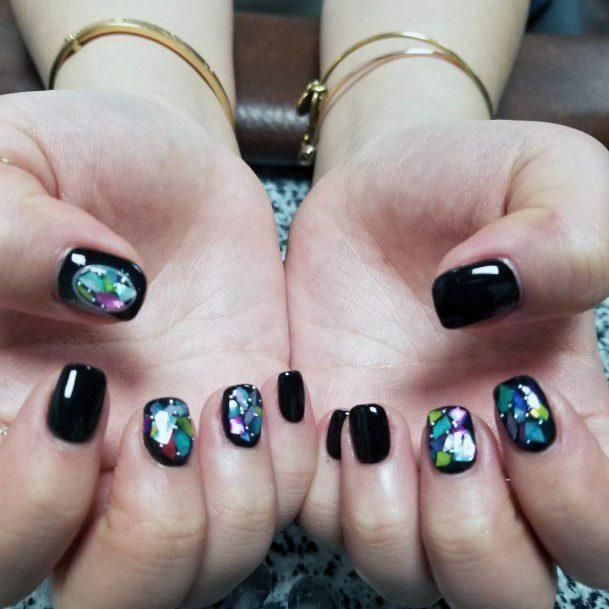 Vibrant Colors On Black Glass Nail Art For Women
