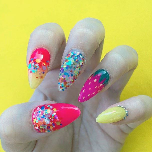 Vibrant Cute Yellow Pink Strawberry Nail Design Inspiration For Girls
