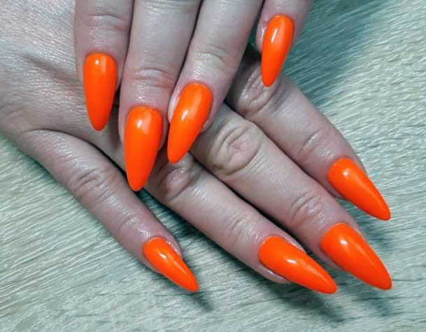 Vibrant Orange Colored Sharp Nails