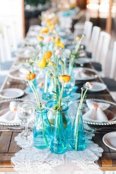 Vintage Blue Glass Vases With Yellow Flowers Wedding Centerpiece Ideas