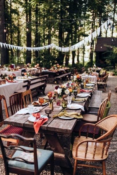 Vintage Bohemian Borrowed Reception Seating Backyard Wedding Ideas