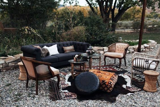 Vintage Boho Outdoor Lounge Seating Backyard Wedding Ideas