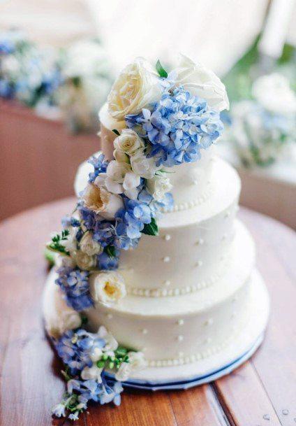 Violently Blue Hydrangea Flowers On White Cake