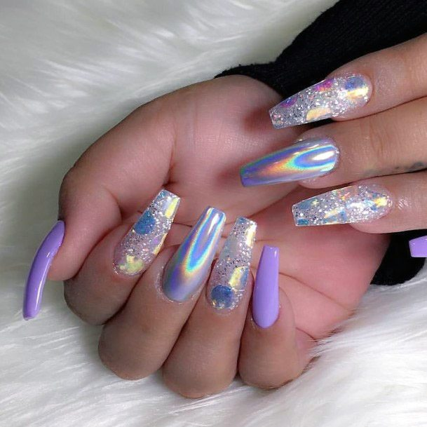 Violet Iridescent Nails For Women