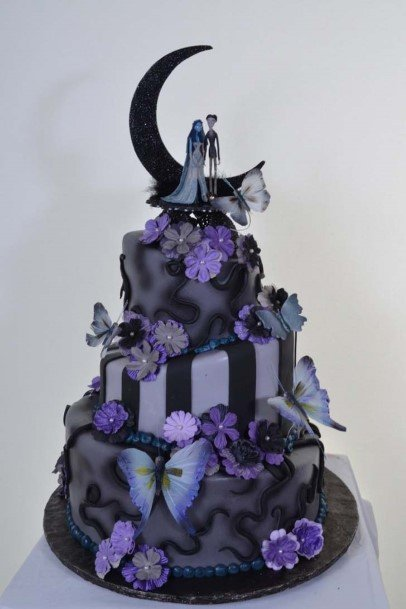 Violet Tinted Halloween Wedding Cakes