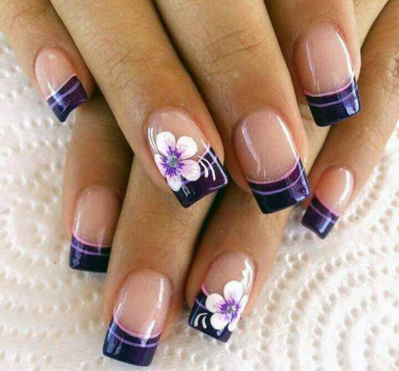 Violet Tip And White Orchids Nail Art