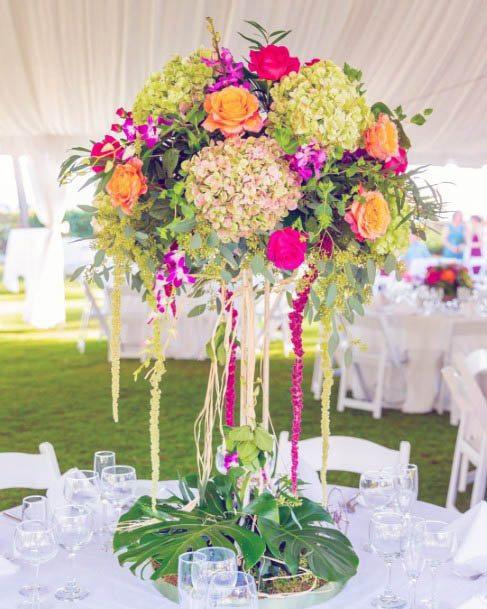 Vivid Beach Wedding Flowers