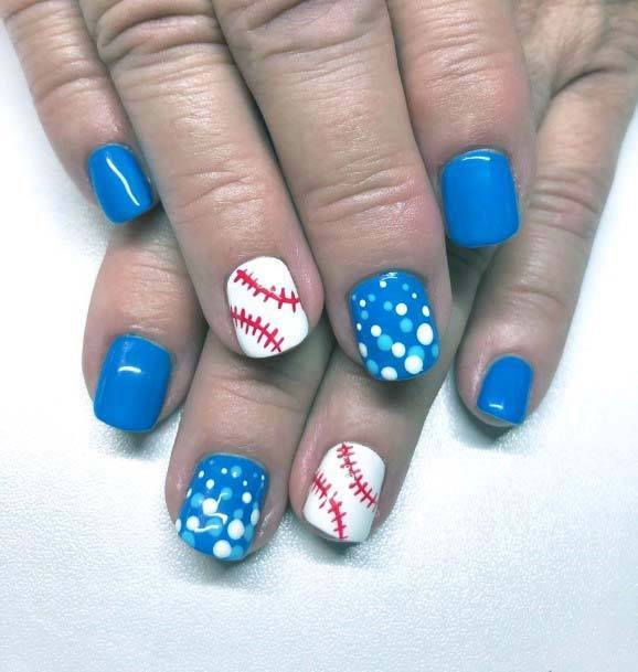 Vivid Blue And White Sport Nails For Women