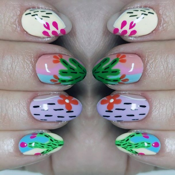 Vivid Colored Cactus Nails For Women