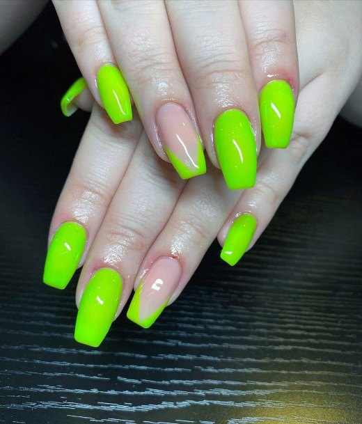 Vivid Lime Green Painted Nails