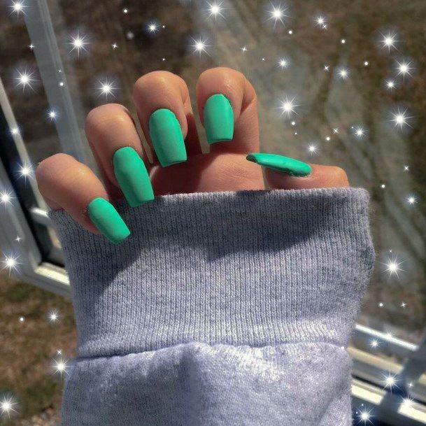 Vivid Mint Nails Women