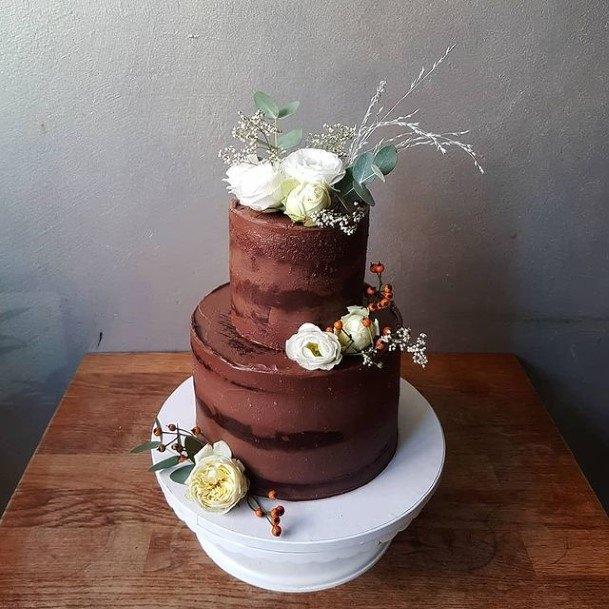 Warm Brown Chocolate Wedding Cake