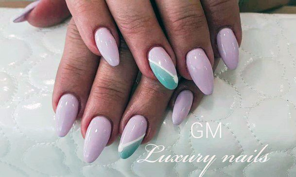 Warm Light Pink Shellac Nails With Angled Grey Design For Women