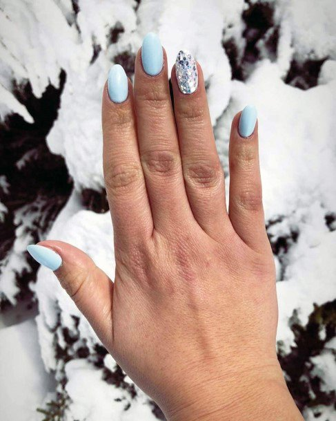 Warm Snow Blue And Silver Nails For Women