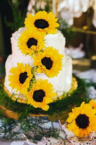 Warm Sunflower Decor Elegant Wedding Cakes Women
