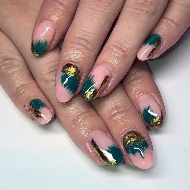 Water Color Green And Gold Nails Women