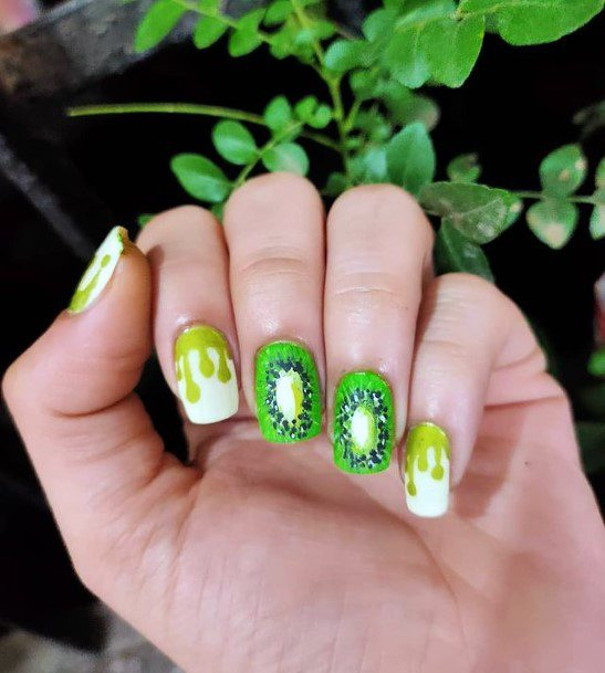 Water Color Green Kiwi Nails Women
