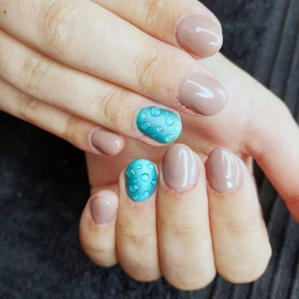 Water Drops On Blue Water Nails Women