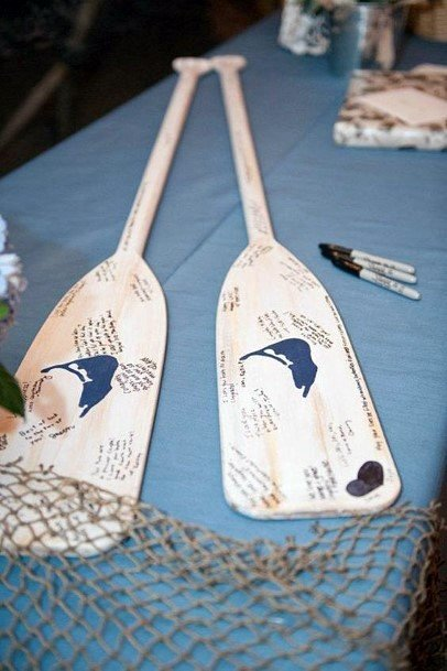 Water Themed Paddles Wedding Guest Book Ideas