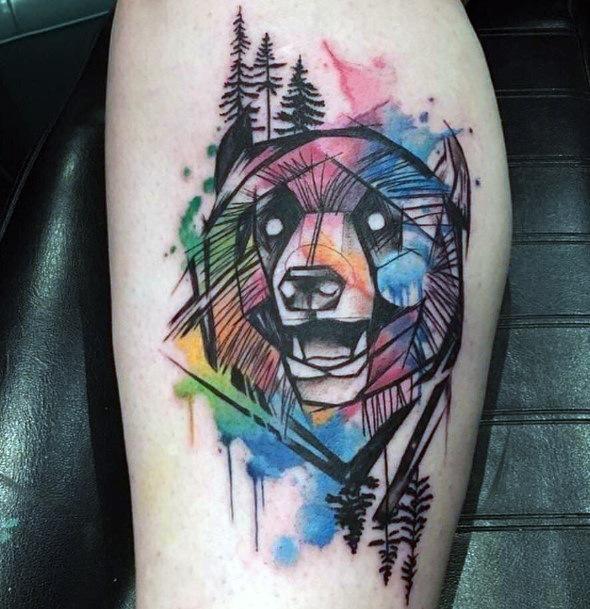 Watercolor Bear Tattoo For Women