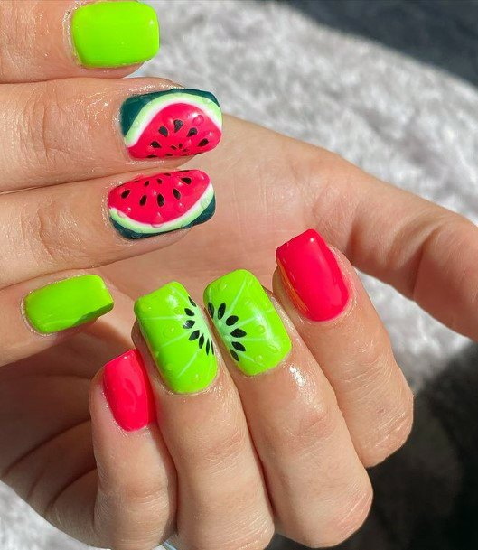 Watermelon And Kiwi Nails For Women Pink And Green